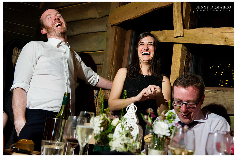 Friends enjoying the reception at the heart of the Treehouse at the Treehouse Restaurant.