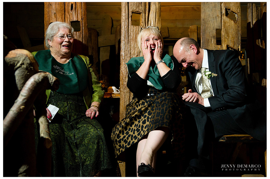 The mothers of the bride and groom receieved bibs and couldn't stop laughing.