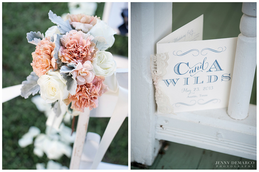 Lace details and muted peach and blue tones made this wedding a classic.