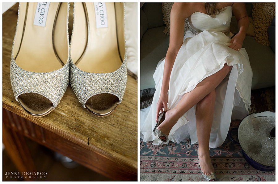 The bride's glittery Jimmy Choo heels and ivory white gown were beautiful.