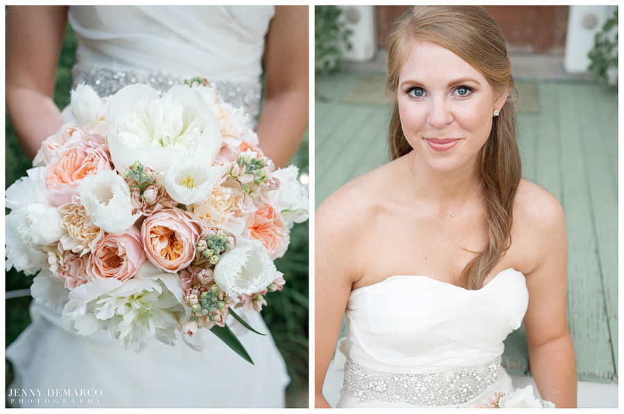 White, peach and pink flowers and roses made the bride's bouquet lovely and complemented her ivory gown accessorized with glittery details.