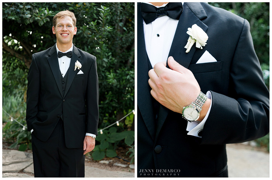 The handsome groom waited in anticipation of his wedding, wearing a smart black tuxedo and snazzy watch.