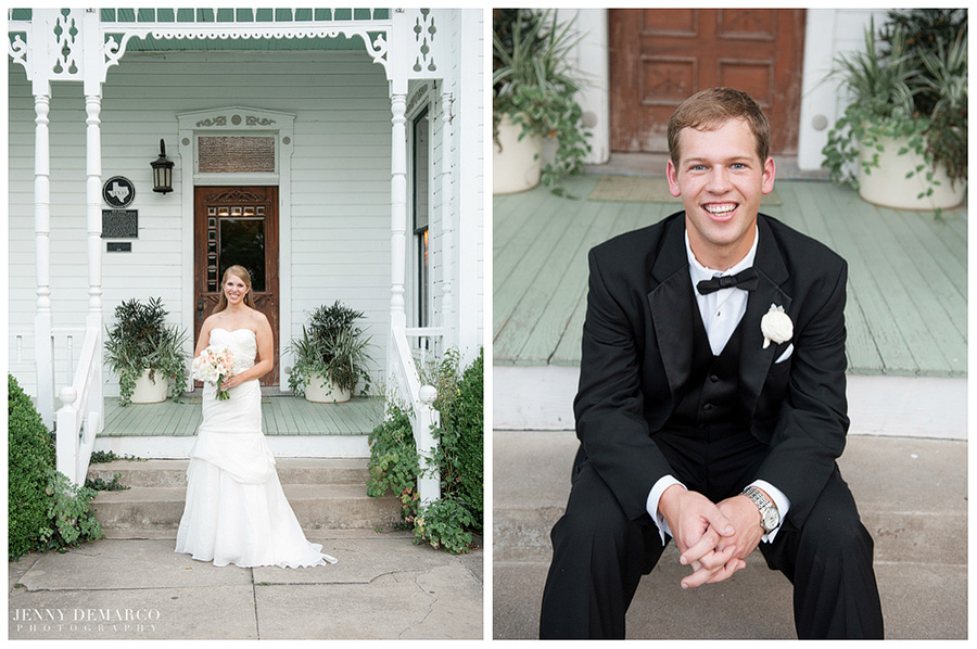 The bride and groom were each photographed in timeless elegance by one of Austin's top wedding photographers.