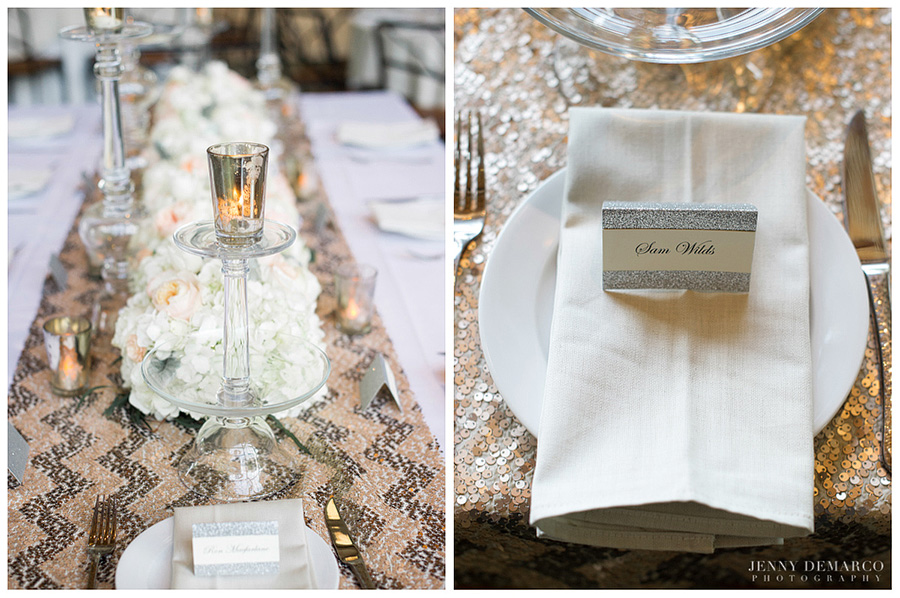 The details in the soft muted blues and beaded chevron linens made this wedding classy.
