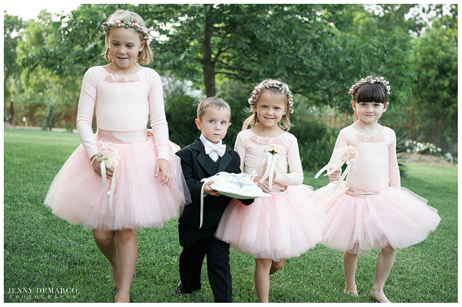 Cute flower girls in pink tutus and an adorable ring bearer made this wedding all the more special.