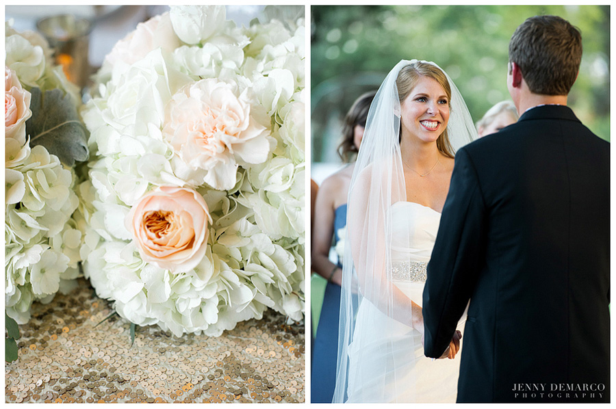 The bride made her day special with details like sequined chevron linens and textured flowers.