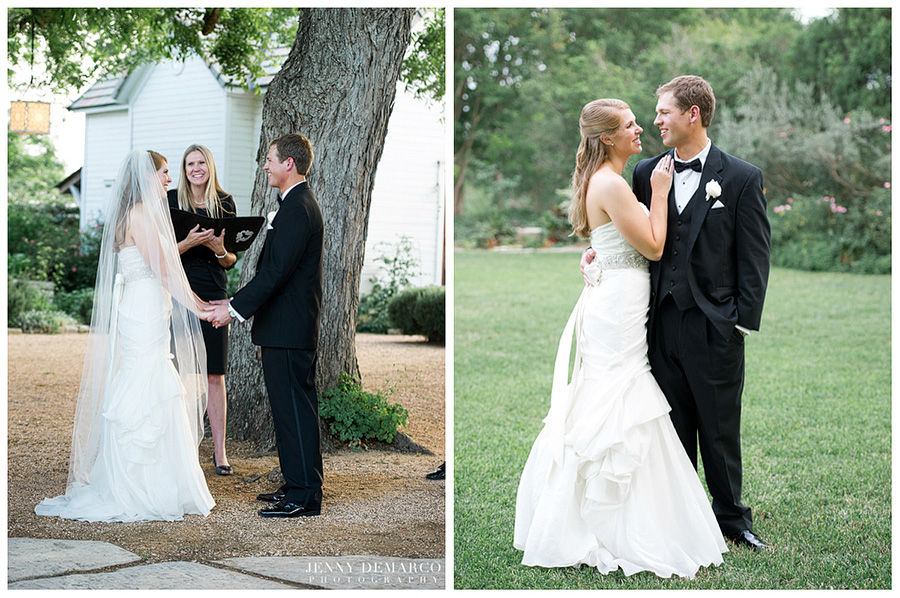 The happy bride and groom say their vows, as captured by one of Austin's top wedding photographers.