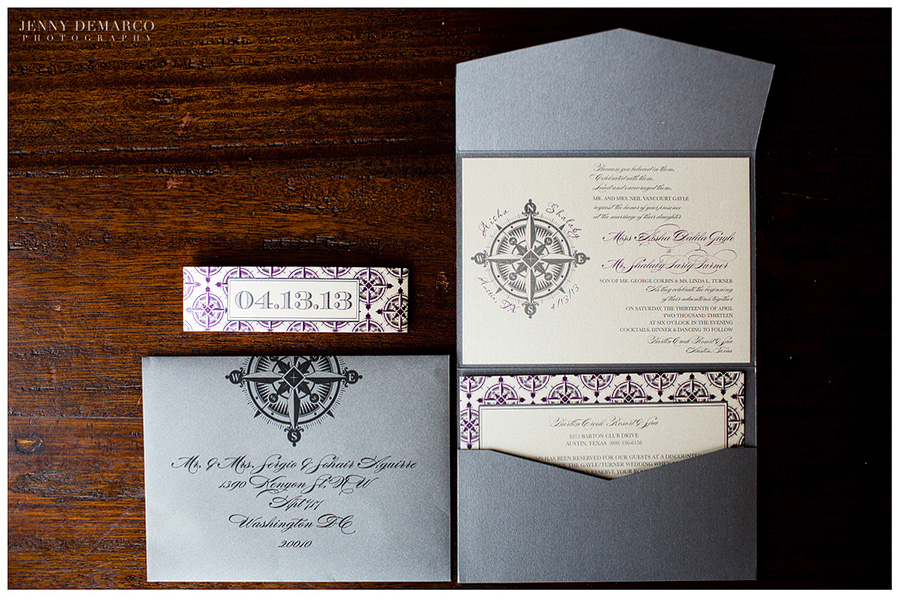 Upscale wedding invitations in gray and eggplant were inscribed with fancy script.