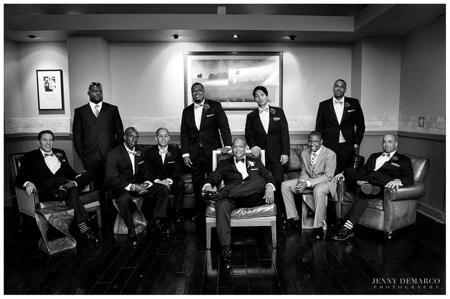 The groom's party pose in the Baron Creek Resort.