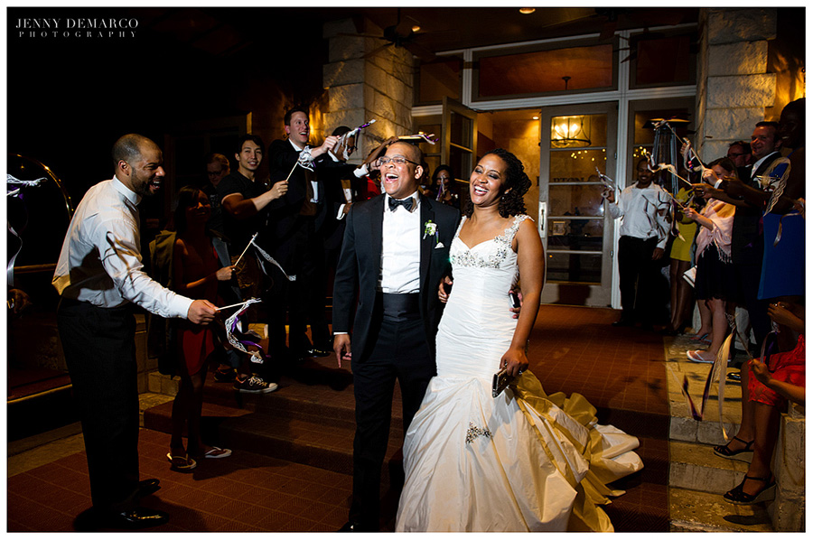The elegant couple leave the wedding reception at the Barton Creek Resort.