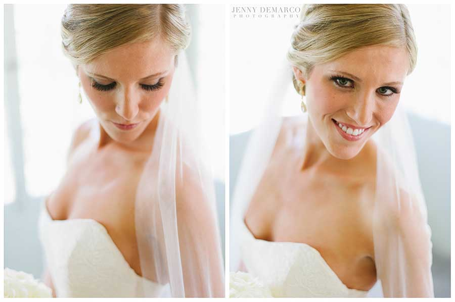 The bride wore an elegant creation like that of Monique Lhuillier.