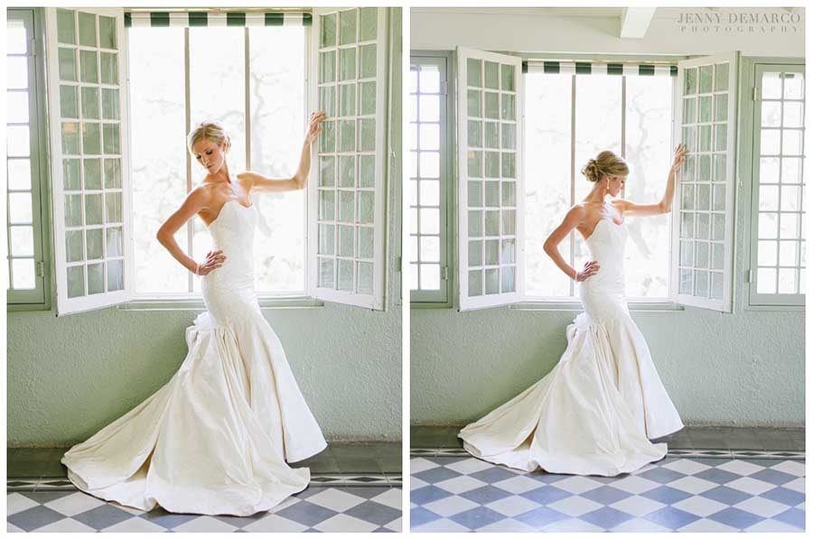 Here the bride is posed in the window of the Driscoll Villa in the Solarium.