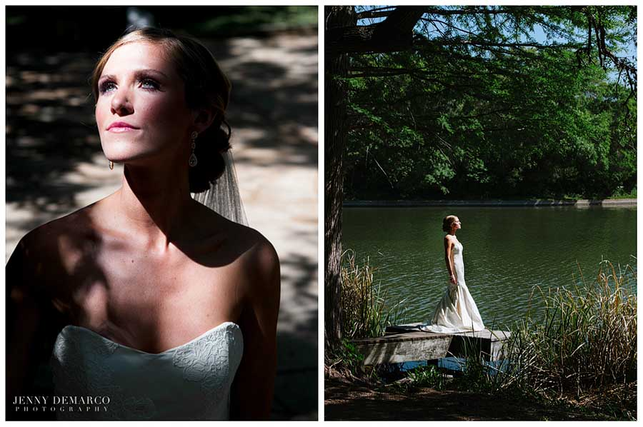 Here the bride poses in the Four Seasons Garden and the Sunken Garden.