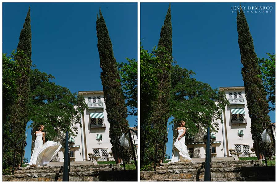 The bride dances on the Overlook in front of the Driscoll Villa on the Villa patio.