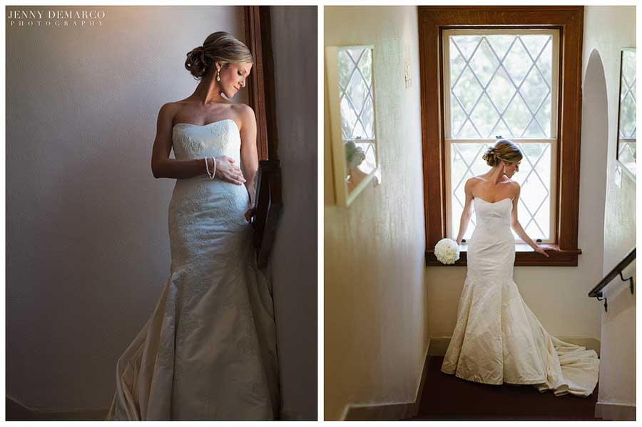 The bride's classic wedding gown had the clean lines of a Vera Wang dress.