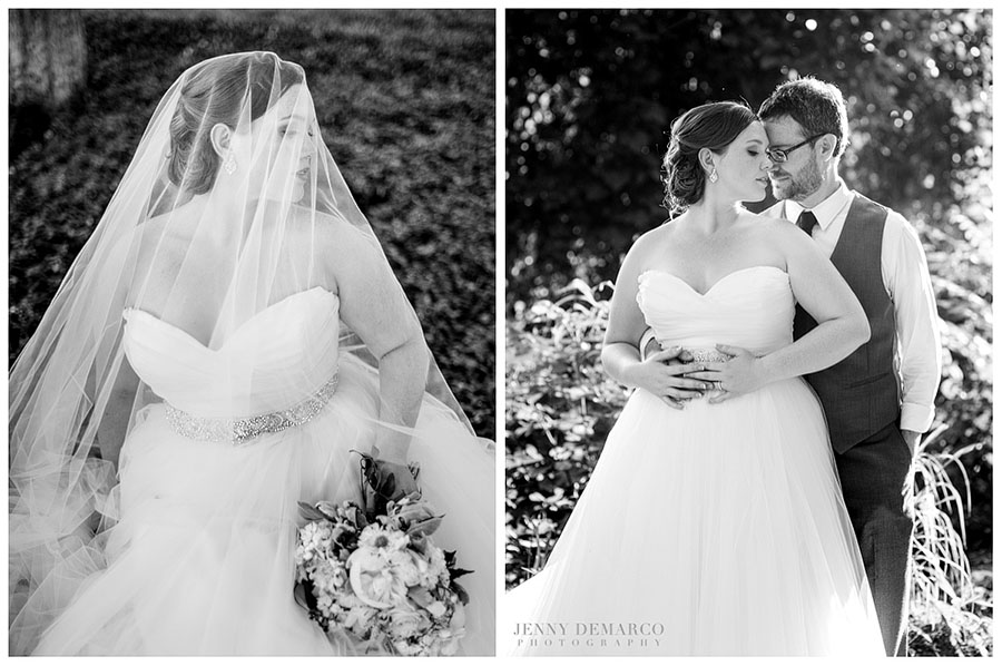 The bride wore a sophisticated wedding gown with a sweetheart neckline inspired by Vera Wang.