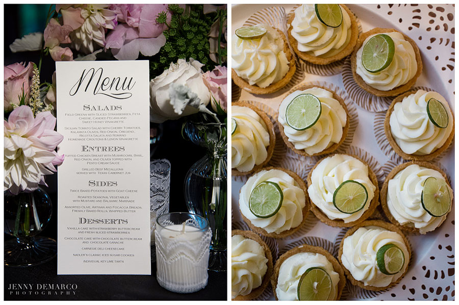 Handmade wedding decorations in ivory, blush and charcoal gray made a sophisticated palette while sweet treats like cupcakes were jazzed up with a slice of lime.