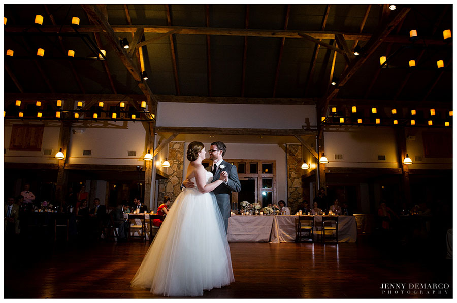 The bride and groom's first dance took place in Camp Lucy's Majestic Events Hall.