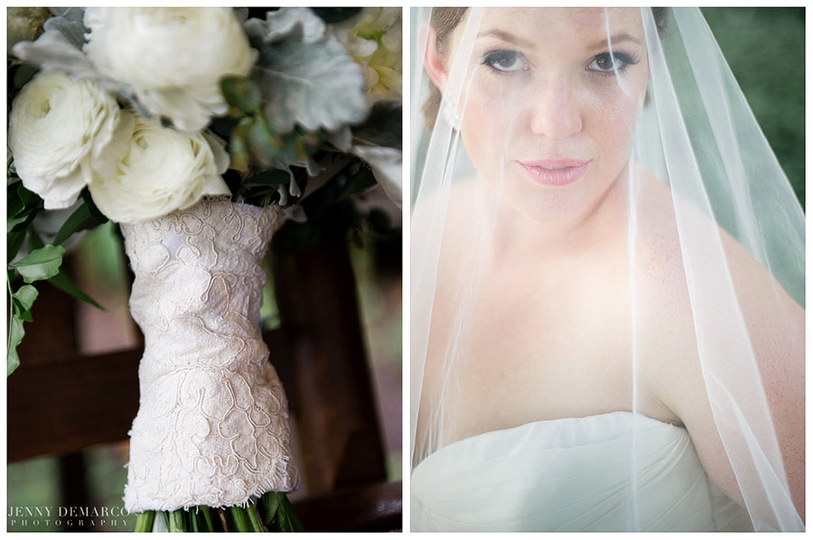 The bride wrapped her bouquet with a lacy family heirloom at her wedding at Camp Lucy.