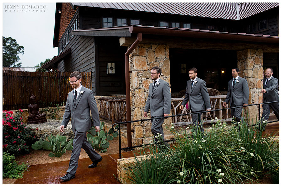 At Camp Lucy, the groom and groomsmen wait for the wedding to begin outside the Majestic Events Hall.
