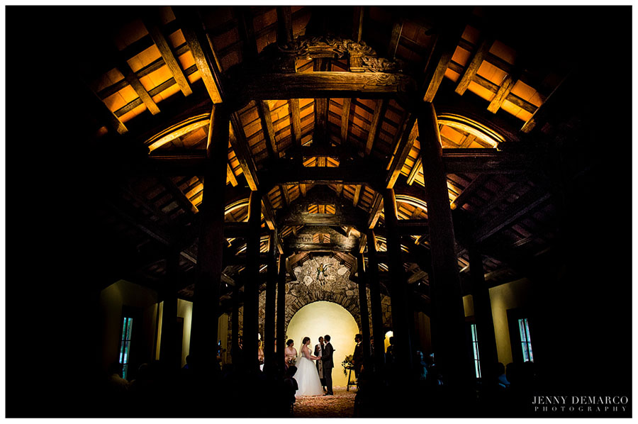 The bride and groom said their vows in Ian's Chapel, surrounded by French Colonial elegance.