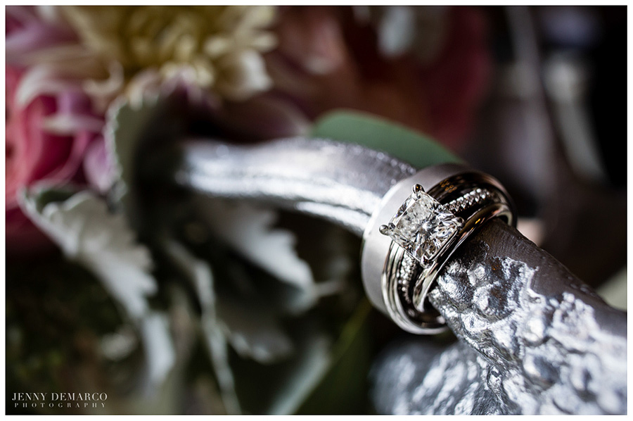 The bride had a gorgeous, square-cut diamond ring.