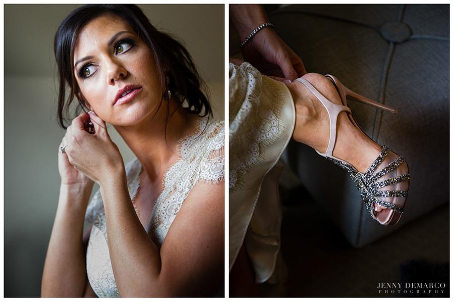 The bride wore elegant, high-heeled Valentino wedding shoes.