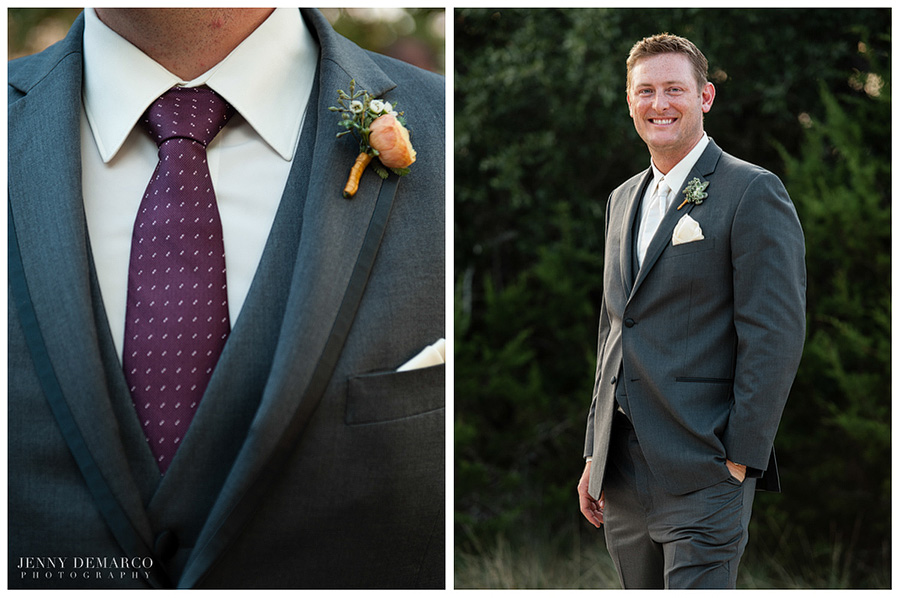 The groom wore a fitted grey suit for this Vista West Ranch wedding.