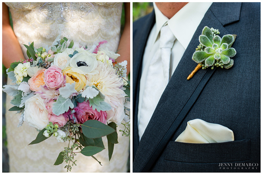 The bridal bouquet and groom's succulent corsage featured the soft pastels and vibrant colors of the wedding.
