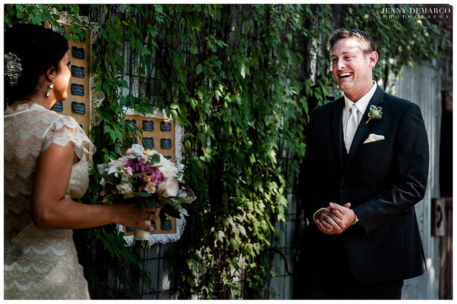 The First Look was photographed by one of Austin's top wedding photographers.