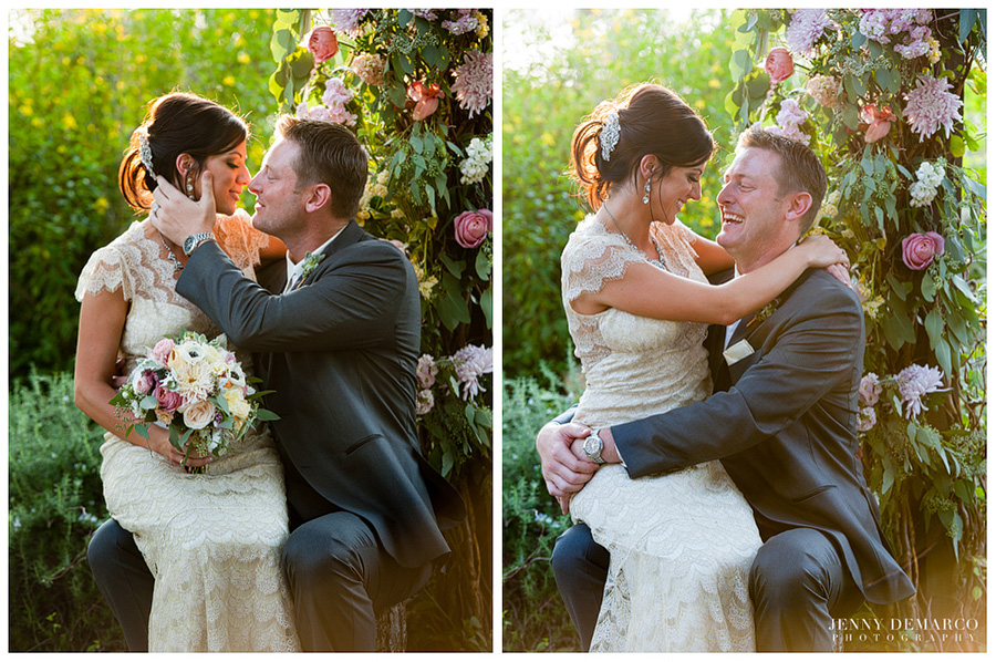 The bride wore a lovely vintage lace gown and the groom wore a snazzy grey suit.