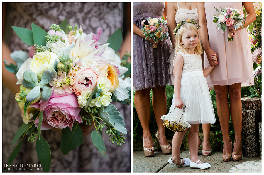 The elegant wedding theme had soft pinks and purples with vibrant pink accents.