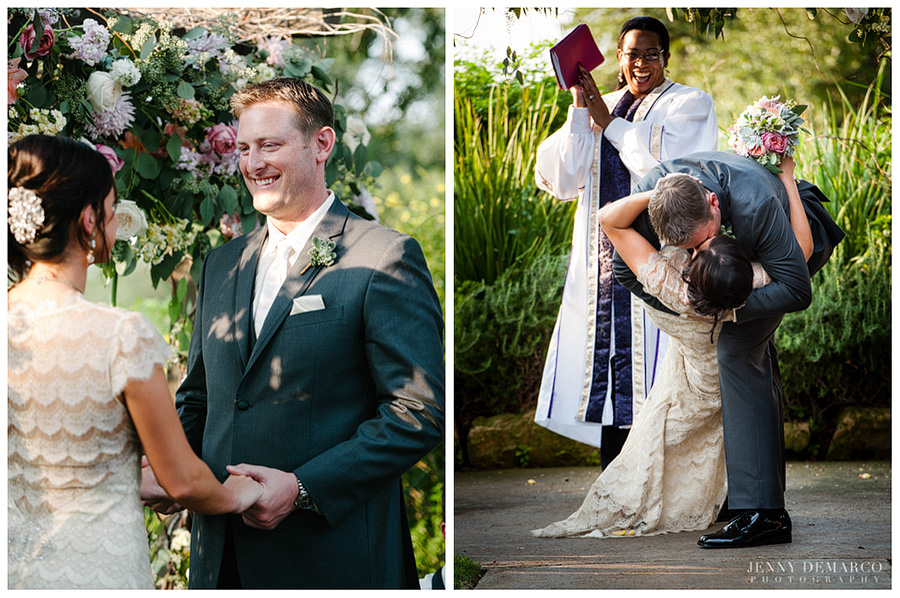 The groom swept the bride into a romantic kiss after they said their vows.
