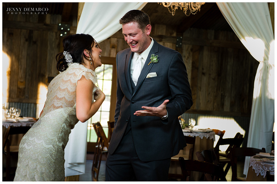 The happy, newly wedded couple rejoice after the beautiful ceremony.