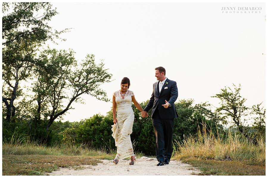 The bride wore elegant, pink, high-heeled Valentino wedding shoes.