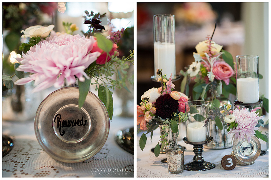 The fashionable wedding reception featured beautiful vintage details, soft pastels and vibrant pinks.