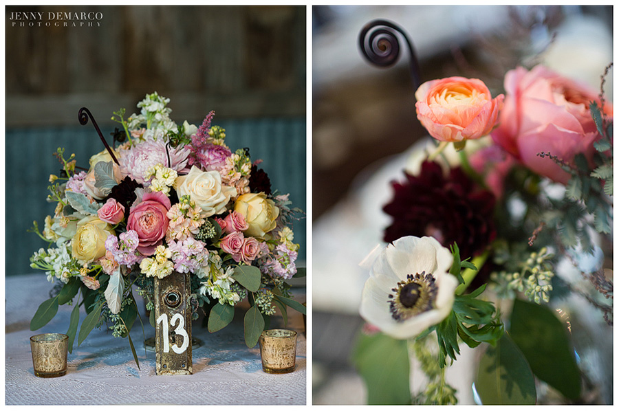 The unique bouquets at the reception featured pastel yellows, pinks, lavenders and greens with contrasting dark mauve and vibrant pink and peach colors.
