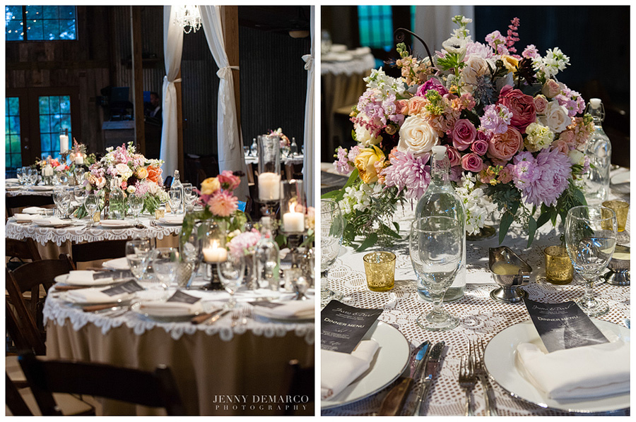 The elegant reception decorations featured a candle-lit atmosphere.