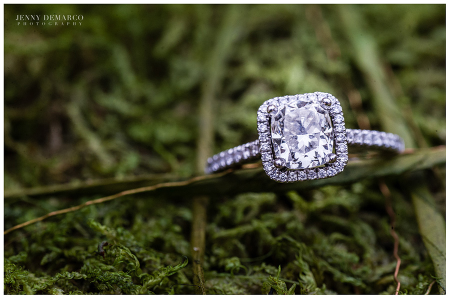 The brides beautiful asscher diamond engagement ring.