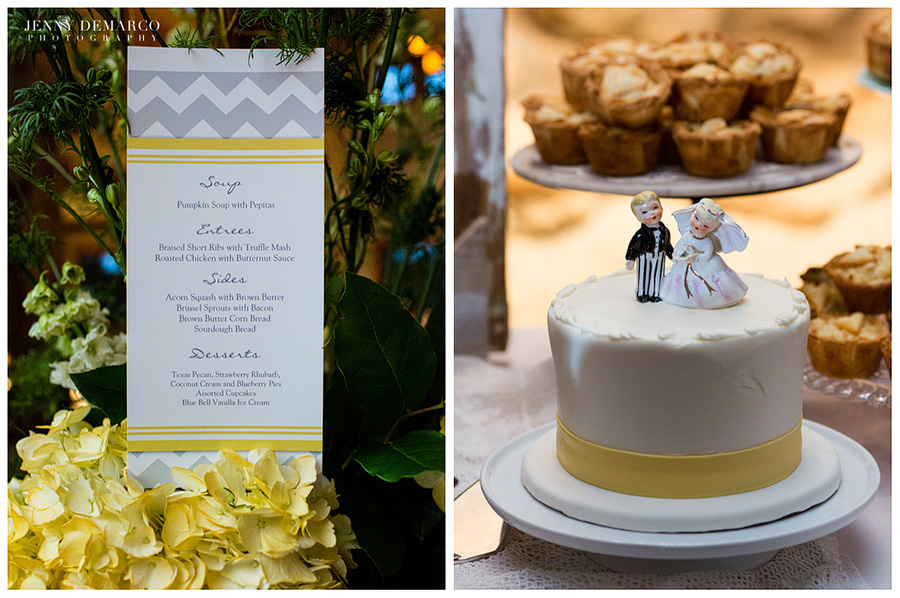The royal fig menu placed on top of yellow hydrangeas. To the right is Cupcake bar and Tiny pies dessert table.
