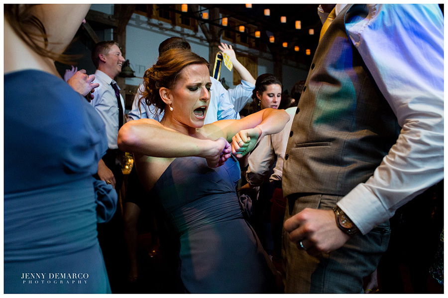 Bridesmaids dancing the night away.