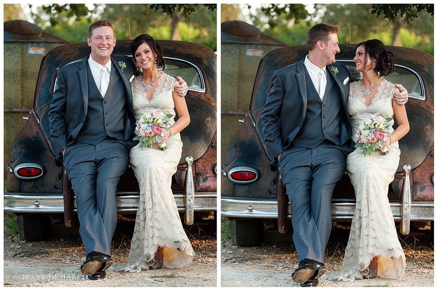 The bride and groom pose on an old fashioned, rustic, chic car before taking each other's hand in marriage at Vista West Ranch.