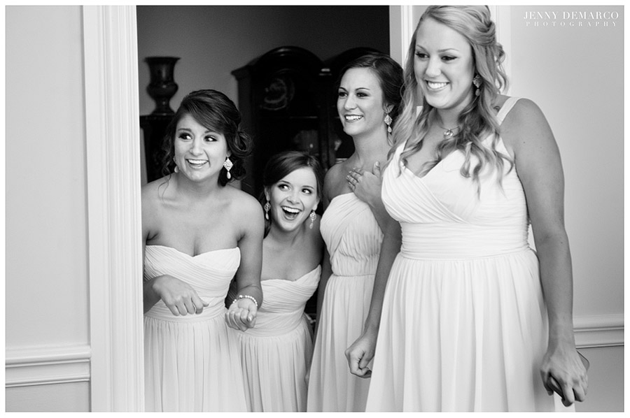 All the bridesmaids were dressed in simple but tasteful white gowns with sweetheart necklines.