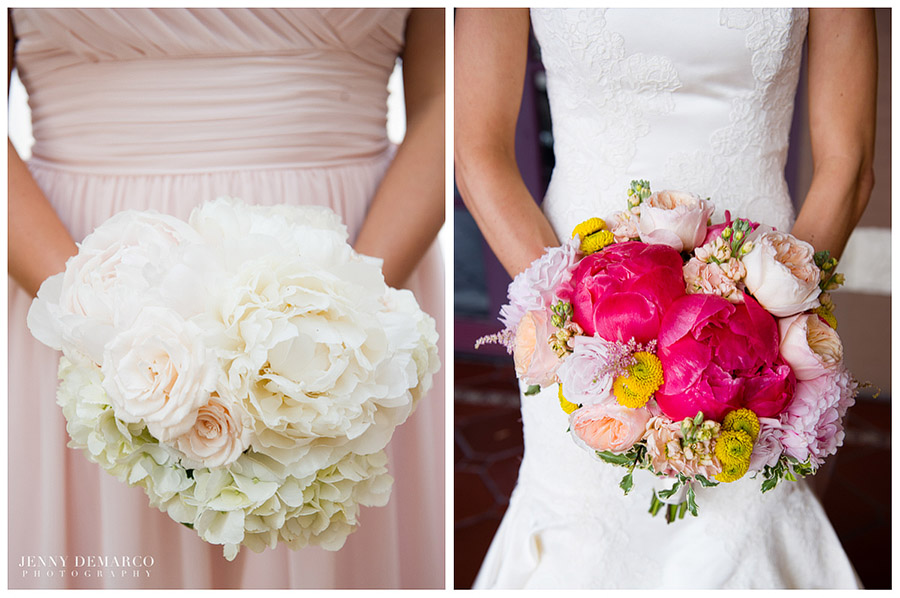The bride's tasteful wedding bouquet featured pale pinks, yellows and vibrant pink.