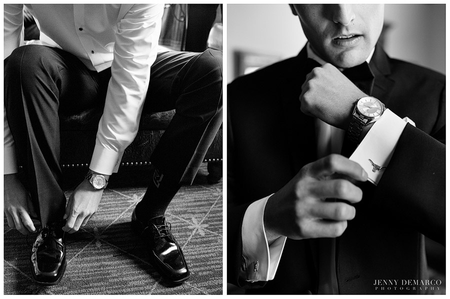 The groom accented his suit with a Movado watch and longhorn cufflinks.