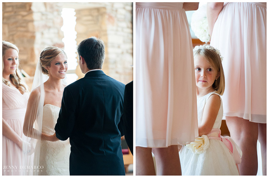The bridesmaids and flower girl wore pale pink gowns in the simple but exquisite ceremony.