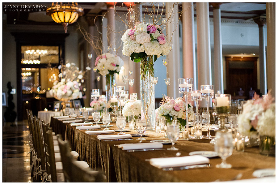 The wedding reception was formal and classy at the historic Driskill Hotel.