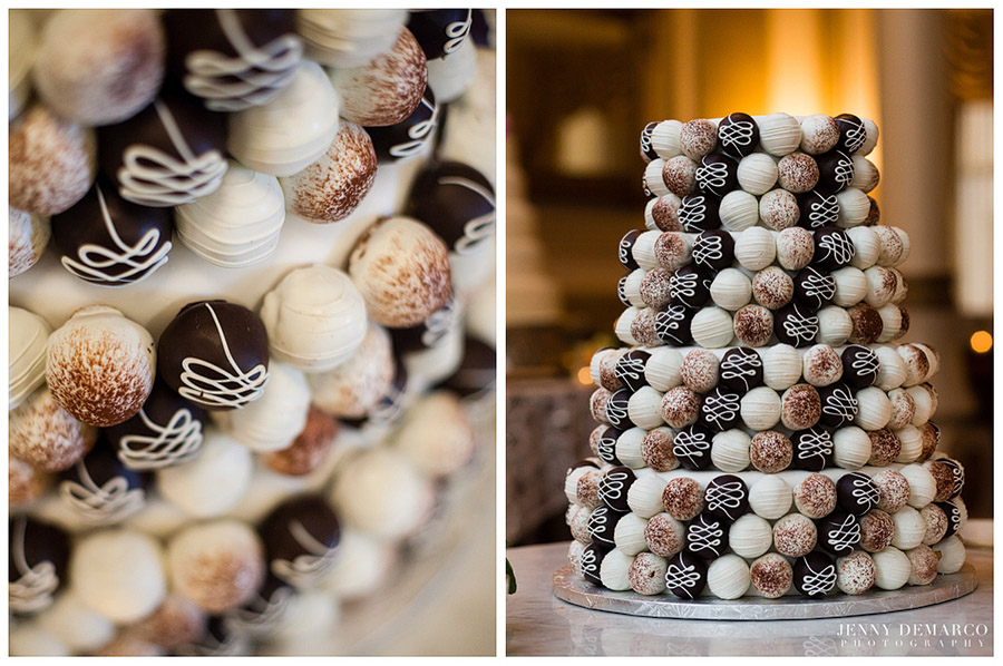 The wedding cake featured exquisitely decorated chocolate and white chocolate.