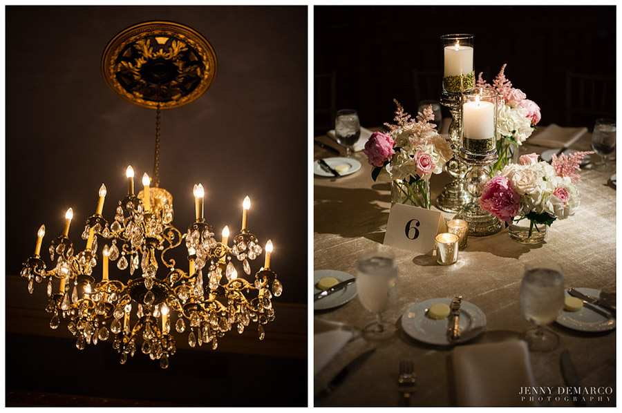 The classy wedding reception was accented by beautiful glass chandeliers and softly lit candles.