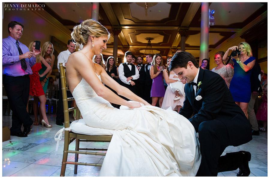 The beautiful wedding reception used the Driskill's ballroom on the mezzanine.